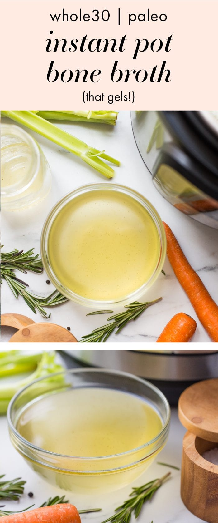 This Instant Pot bone broth is the best Whole30 bone broth. It's so easy to make and turns out deliciously rich and nourishing, plus it gels like a straight up Jell-O jiggler! Once you've tried this Instant Pot bone broth, you'll have a batch of this Whole30 bone broth in the fridge at all times. We certainly do!