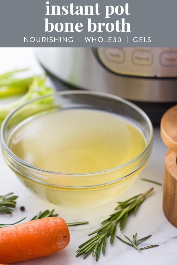 This Instant Pot bone broth is super nourishing and so easy to make. It's deliciously rich and nourishing, plus it gels like a straight up Jell-O jiggler! This recipe makes it so easy to learn how to make bone broth. Made with both chicken and beef bones, it's super versatile, and boasts amazing health benefits, too.#whole30 #nourishing #cleaneating #realfood #paleo #keto #lowcarb #healthy #antiinflammatory #instantpot #recipe #chicken #beef