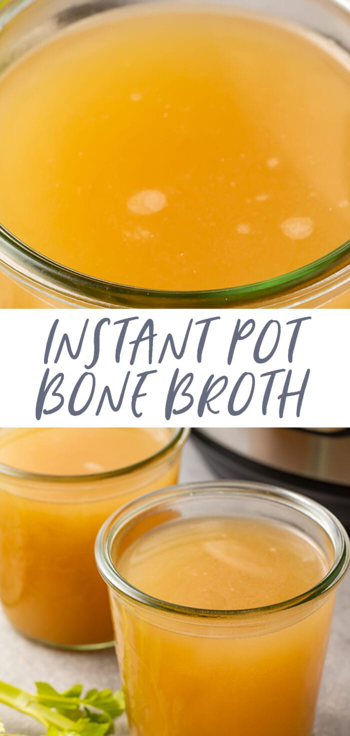Pin graphic for Instant Pot bone broth that gels