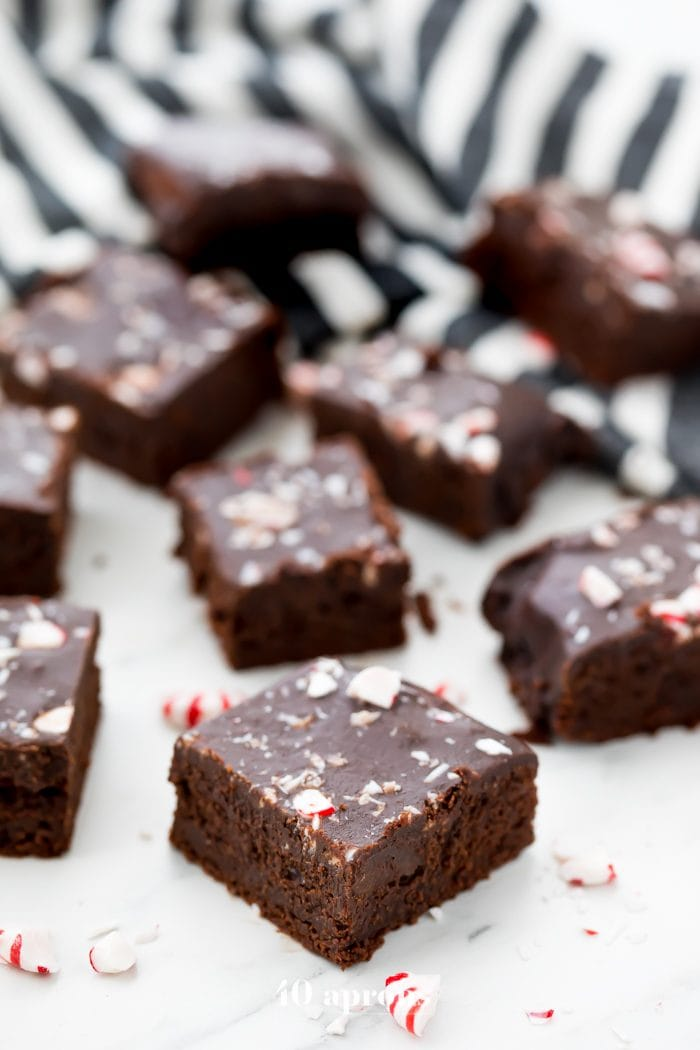 These paleo & vegan peppermint frosted brownies are so rich and delicious, a perfect healthy holiday recipe! Gluten-free, grain-free, dairy-free, and refined-sugar-free, these paleo & vegan peppermint frosted brownies will surprise everyone with just how indulgent they are! Bound to become a new favorite paleo holiday recipe or vegan holiday recipe!