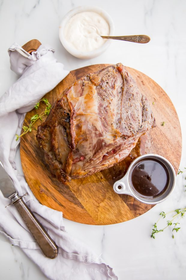 Prime rib served with au jus