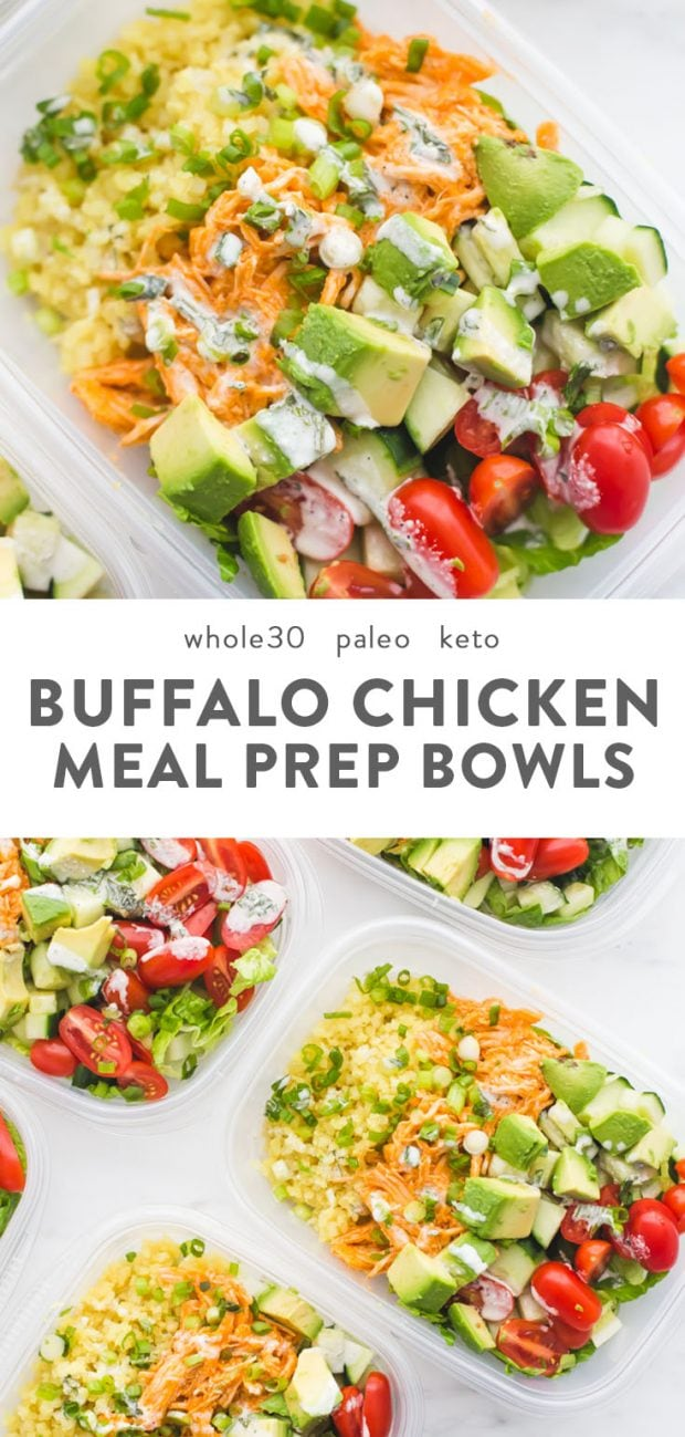 Buffalo chicken Whole30 meal prep with avocado, cauliflower rice, and ranch dressing in container