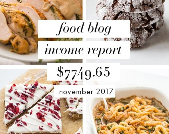 Food Blog Income Report and Traffic: November 2017