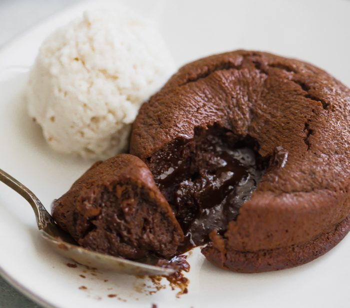 Paleo molten lava cake with ice cream