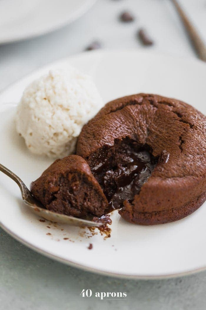 Paleo molten lava cake with ice cream
