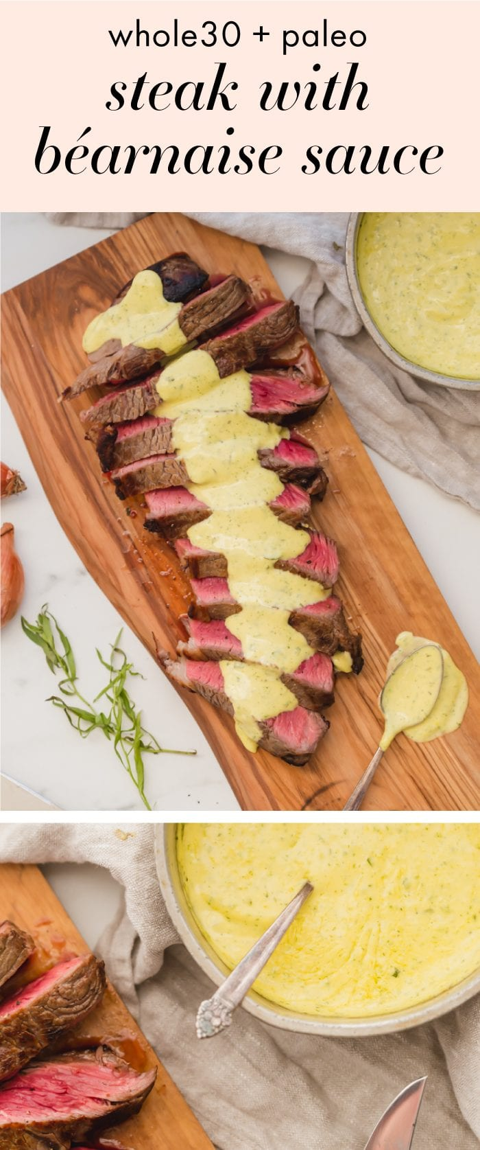Steak with Whole30 bearnaise sauce