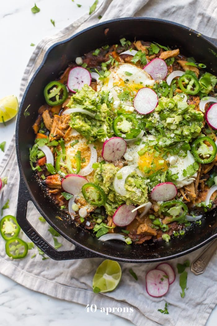 Whole30 chilaquiles with carnitas and sweet potatoes (Whole30 Mexican recipes)