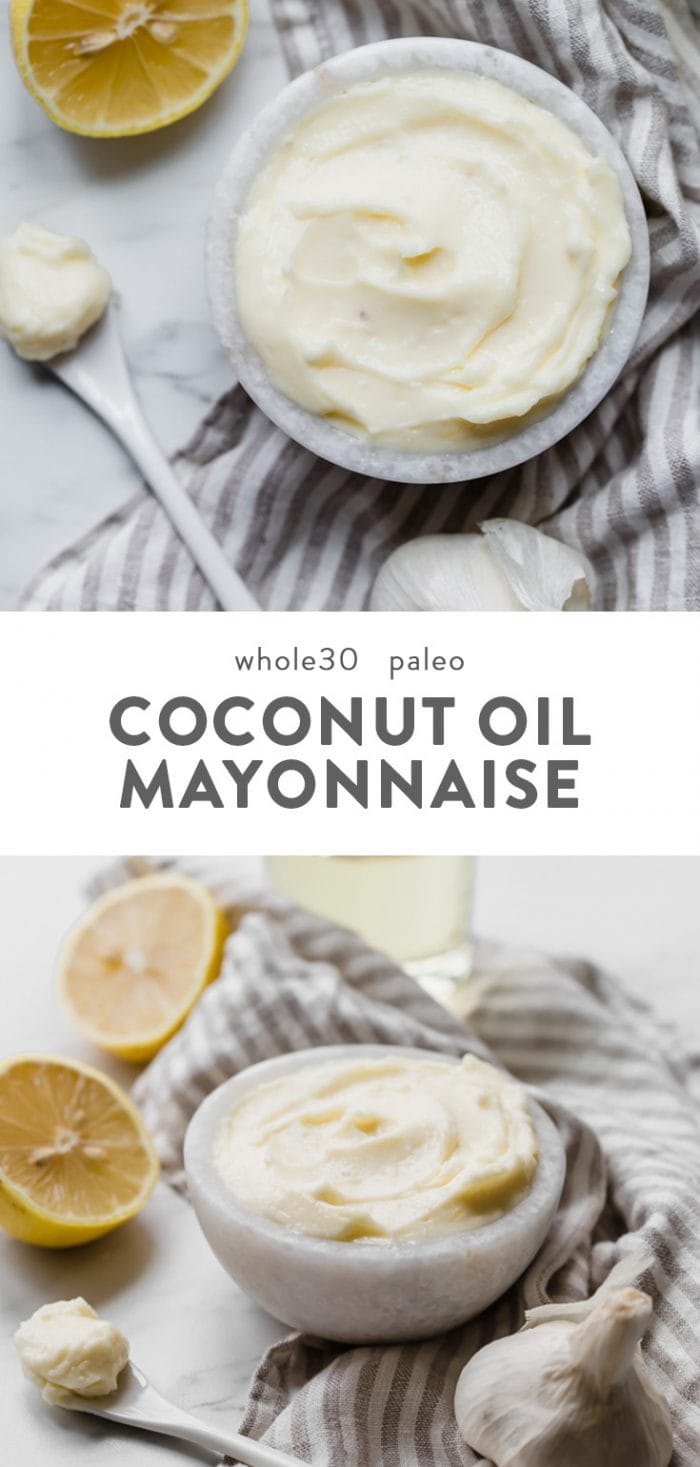 Whole30 mayonnaise made with coconut oil in a small white marble bowl.