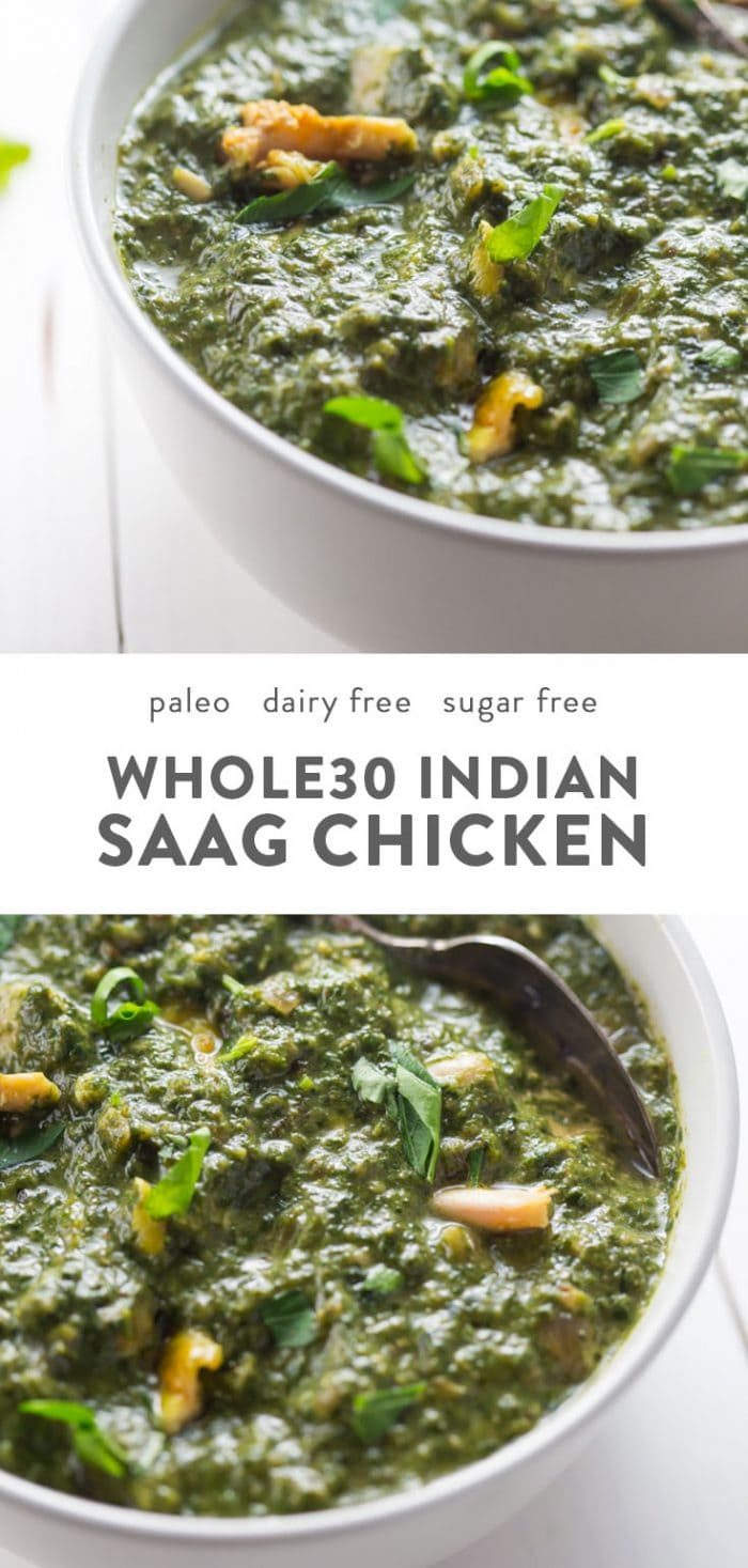 Bowls of dairy free and paleo indian saag chicken.
