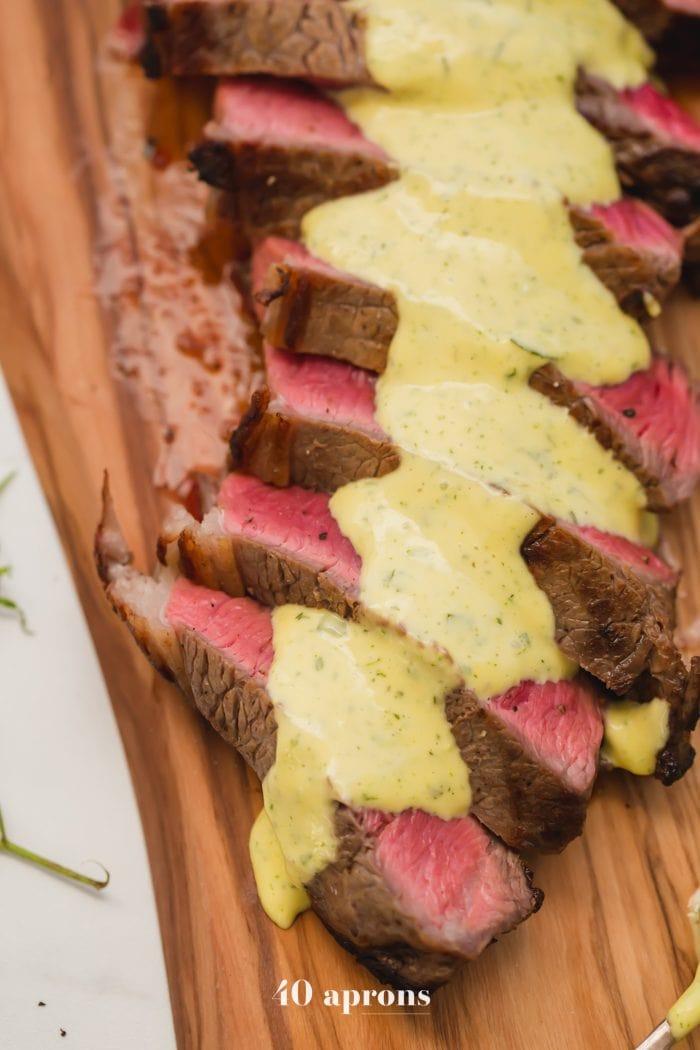 Medium-rare Whole30 steak with Whole30 béarnaise sauce