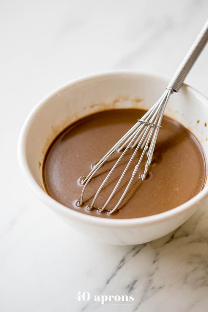 Creamy Whole30 balsamic dressing being whisked