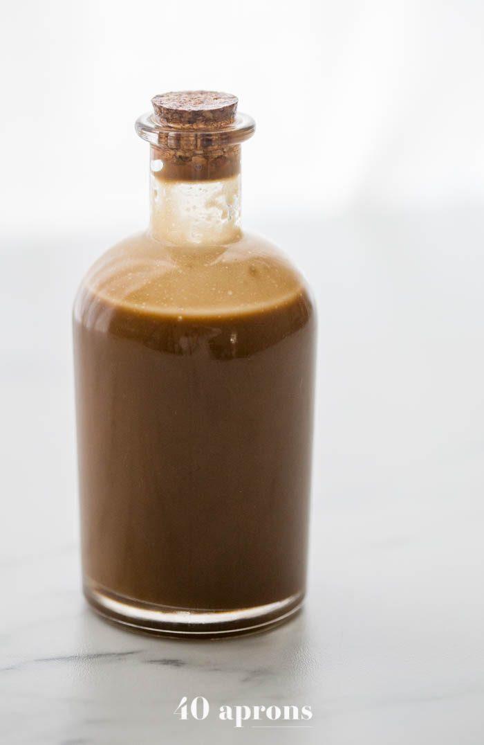 Creamy Whole30 balsamic dressing in a jar