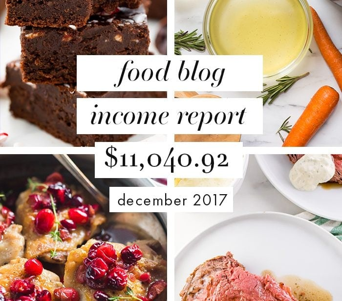 Food Blog Income Report and Traffic: December 2017
