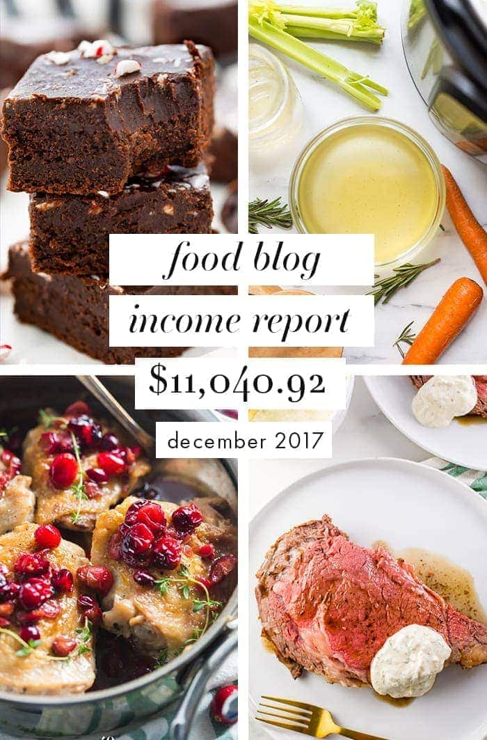 Food blog income report & traffic: December 2017