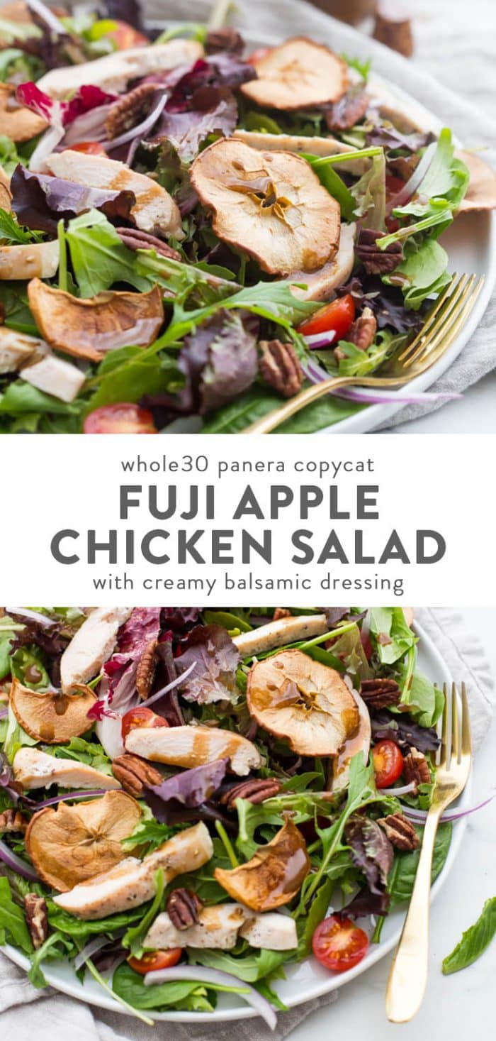 Whole30 Panera Fuji apple salad on plate with balsamic dressing