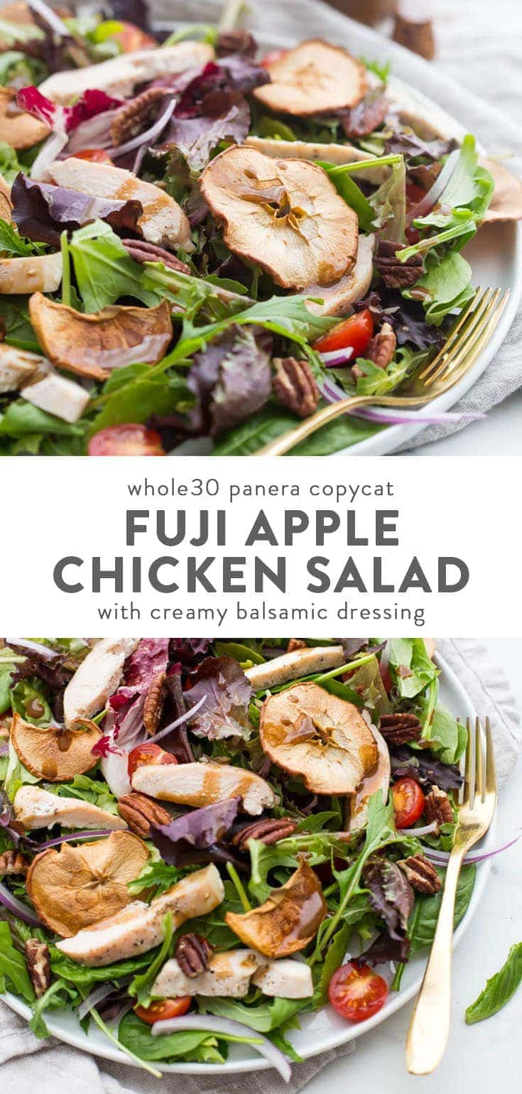 This Whole30 Panera Fuji apple salad with chicken is a paleo copycat of the delicious Panera salad with no sugar, dairy, or funky ingredients! Bright, flavorful, and light, this Whole30 Panera Fuji apple salad with chicken is a delicious Whole30 lunch or light Whole30 dinner recipe. One of my favorite Whole30 copycat recipes! #salad #healthyrecipes