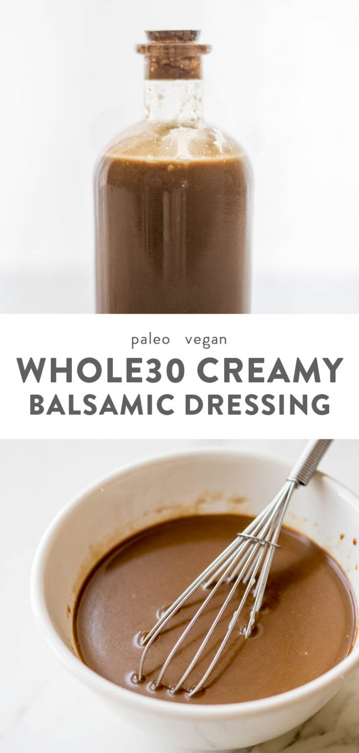 Creamy Whole30 balsamic dressing in a jar and in a white bowl with a whisk.