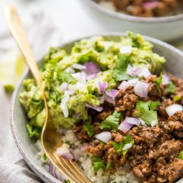Whole30 Chipotle Beef & Avocado Bowls (Paleo Sofritas Copycat)