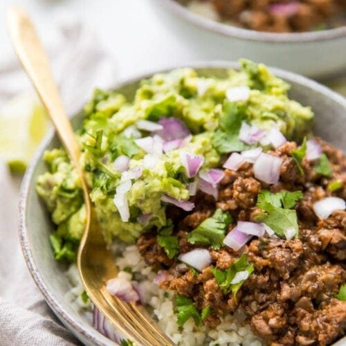 Whole30 chipotle beef & avocado bowl over cilantro-lime cauliflower rice