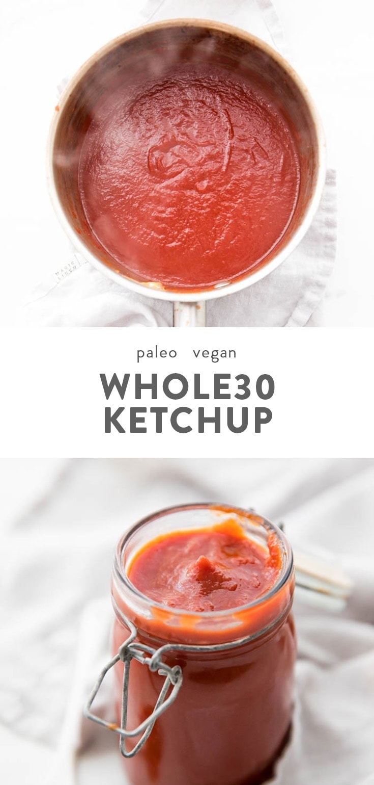 This Whole30 ketchup recipe is made with only a few ingredients, no dates, and requires no blending. It's perfect on everything and in so many other sauces! This Whole30 condiment is a total must, and you'll want to keep a jar of this Whole30 ketchup recipe on hand at all times. #whole30 #vegan