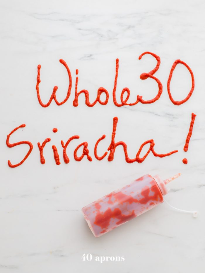 Whole30 sriracha written on counter