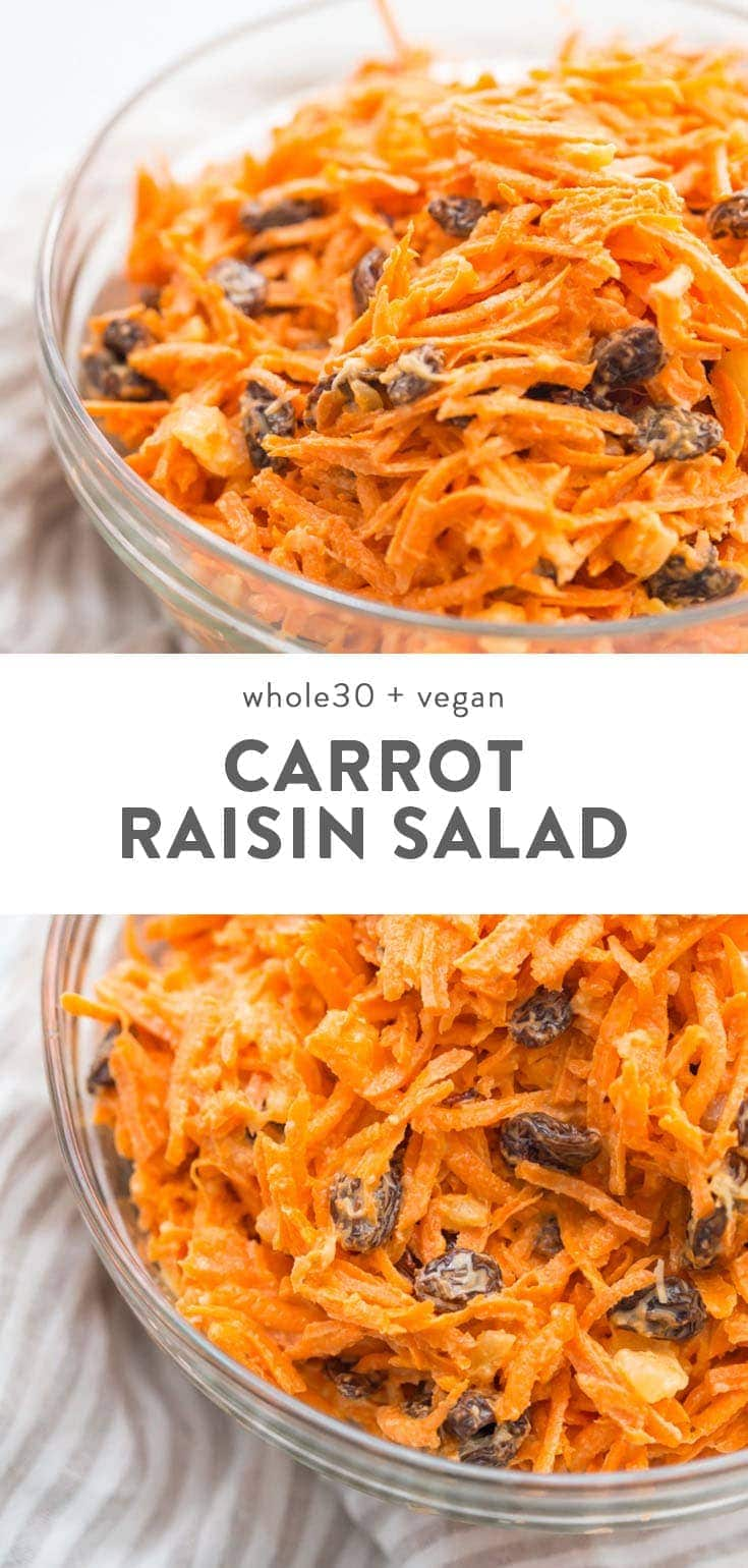Whole30 and vegan carrot raisin salad in a glass bowl.