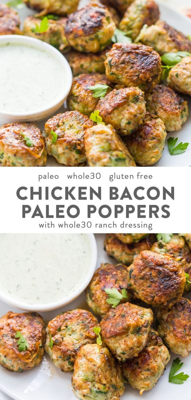 Whole30 chicken bacon poppers with ranch dressing - a crowd pleasing healthy appetizer!