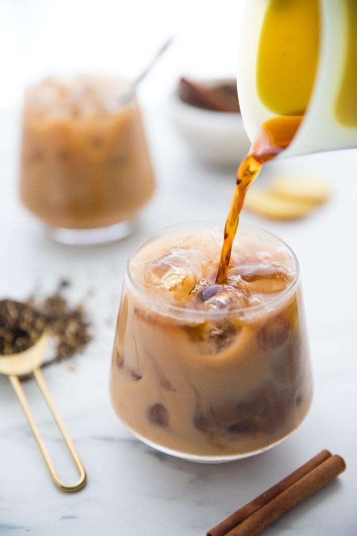 Cold brew pouring into vegan iced dirty chair