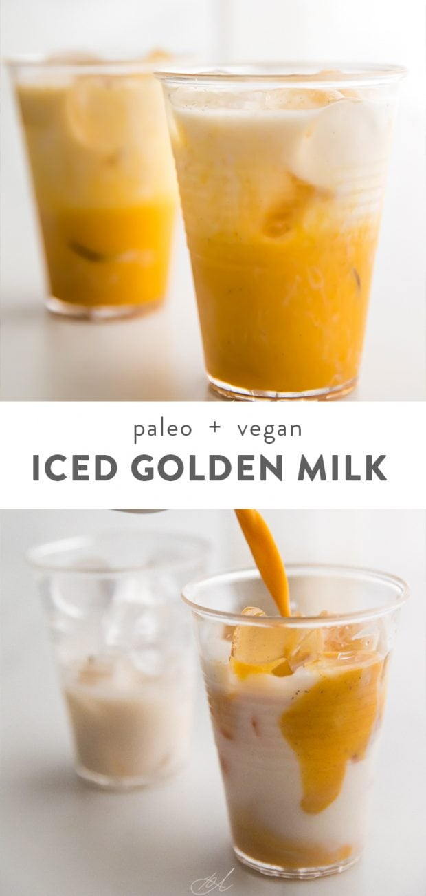 Iced golden milk Pinterest graphic
