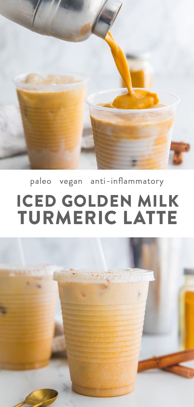 This iced golden milk turmeric latte is paleo and vegan, loaded with anti-inflammatory turmeric and other ancient, healing spices. It comes together so quickly and is naturally sweetened, super refreshing, and perfect for warmer weather. This iced golden milk turmeric latte is a modern take on an ancient healing drink, and you can feel fantastic about shaking up batches of this paleo and vegan drink! #healthydrinks #turmeric #vegan #paleo