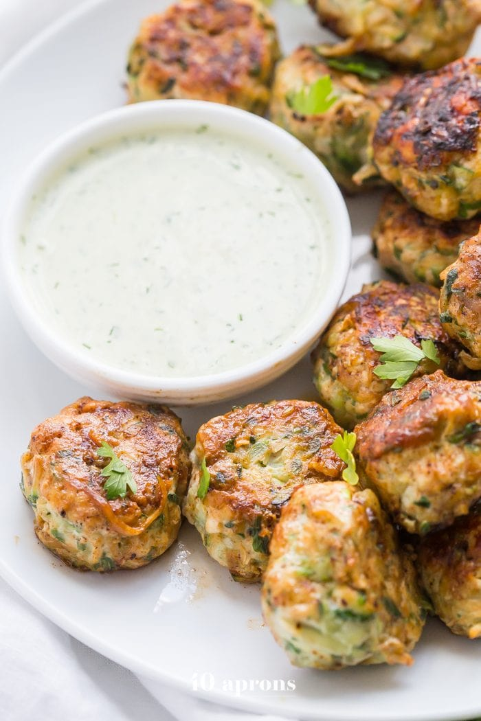 Whole30 chicken bacon ranch poppers with Whole30 dump ranch dressing