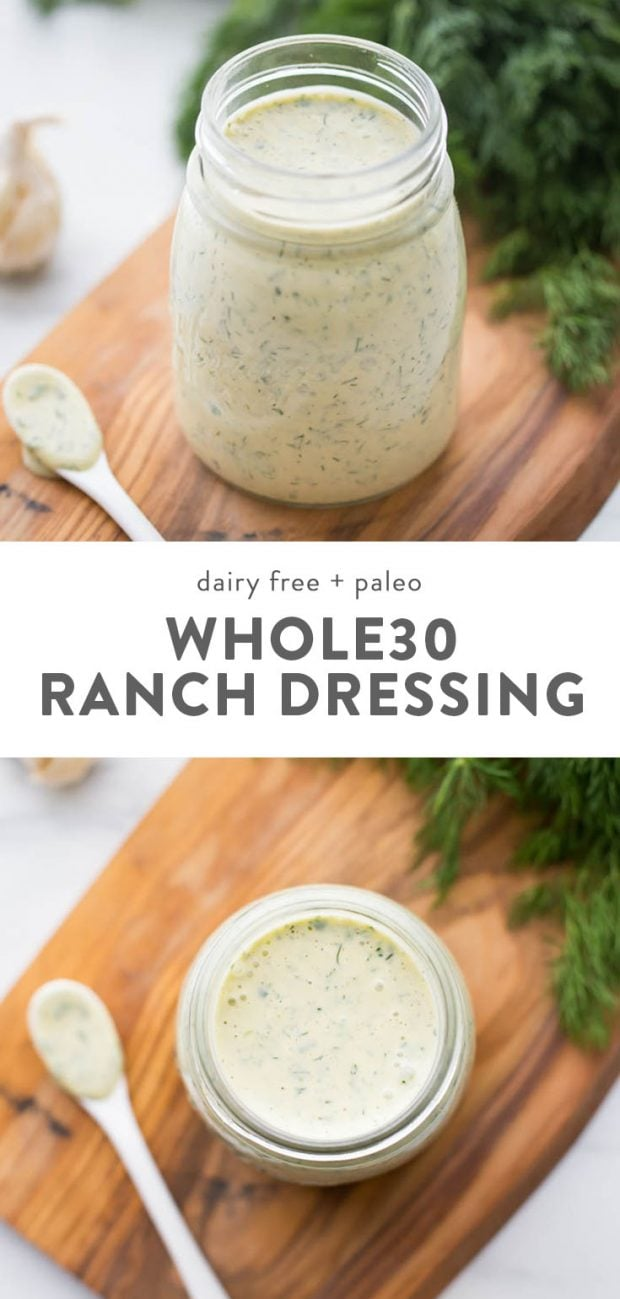 Whole30 and vegan ranch dressing (dump ranch) in a glass jar on a cutting board with a side of fresh dill.