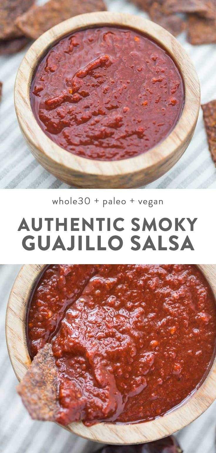 Vegan and Whole30 guajillo salsa in a small wood bowl surrounded with tortilla chips.