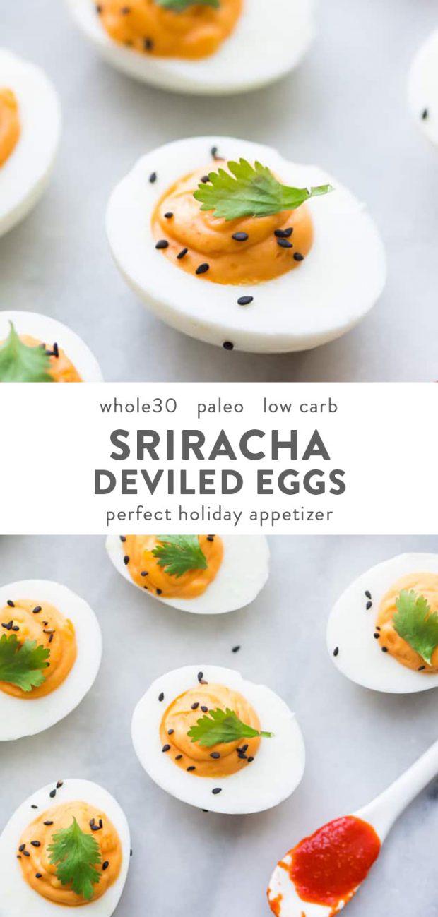 Whole30 sriracha deviled eggs with a spoon of Whole30 sriracha