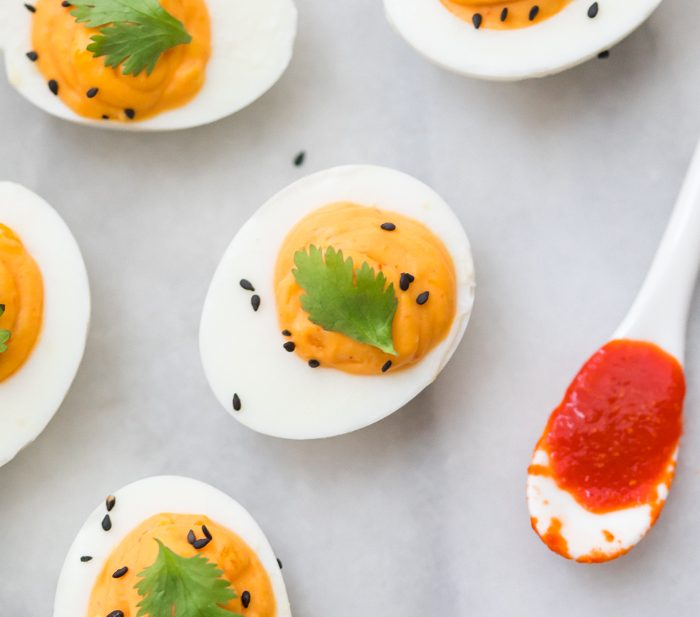 Sriracha Deviled Eggs (Whole30, Paleo)