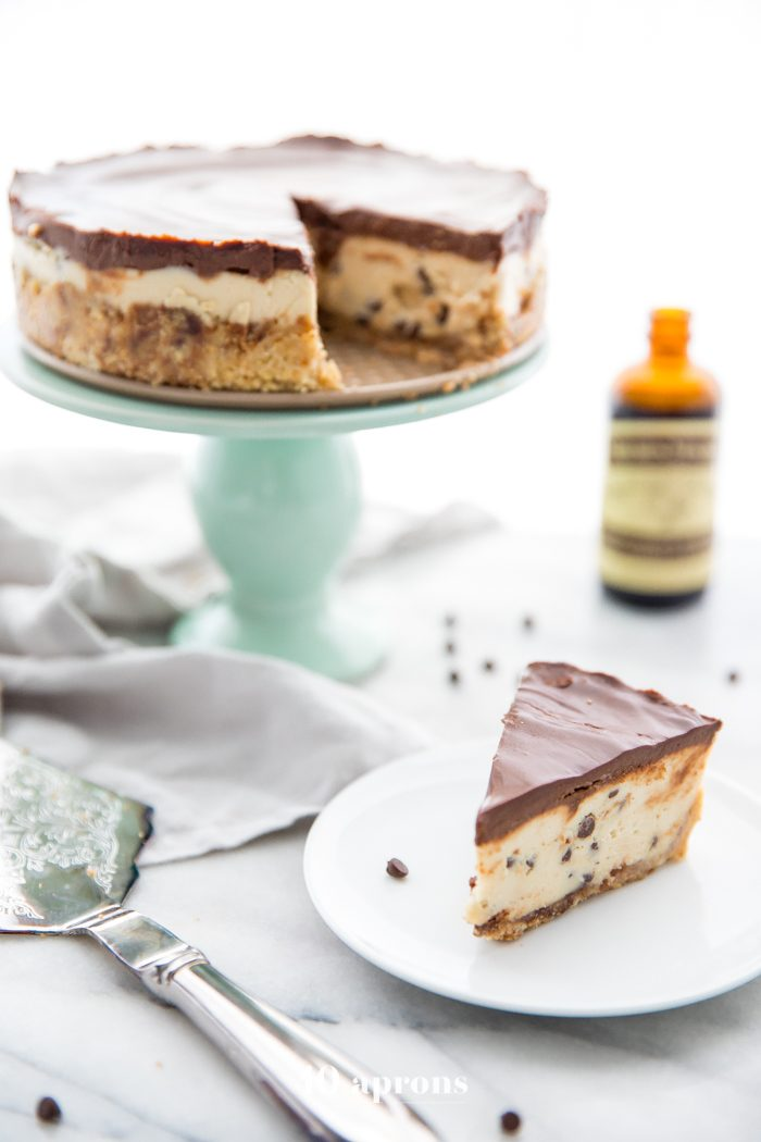 Slice of vegan no bake cookie dough cheesecake on a plate