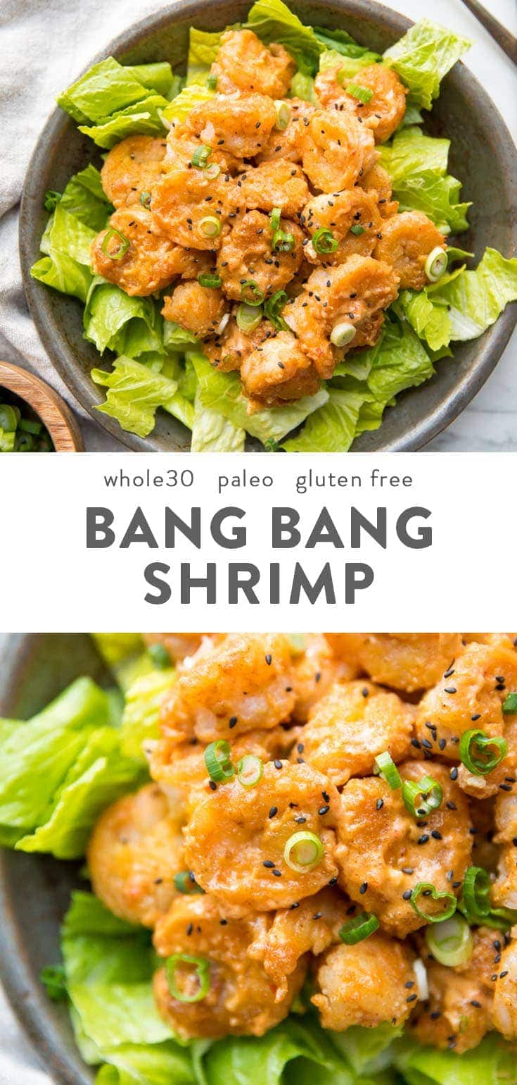 These Whole30 bang bang shrimp are crispy, tender, spicy, and creamy! They make a fantastic Whole30 dinner recipe and are paleo, gluten-free, grain-free, refined-sugar-free, and nut-free. Tossed in a sriracha-spiked creamy sauce, these Whole30 bang bang shrimp are seriously good! A perfect Whole30 dinner recipe for company, too. #whole30 #paleo #grainfree #nutfree #glutenfree #copycatrecipe