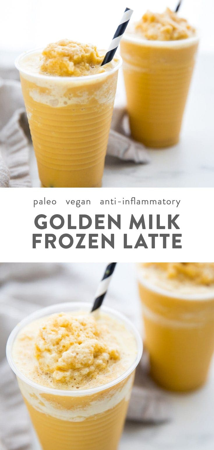 Frozen golden milk turmeric frappuccino (paleo, vegan, anti inflammatory). This frozen golden milk turmeric frappuccino is the most refreshing and delicious way to get the anti-inflammatory benefits in a turmeric recipe! The frozen version of my iced golden milk turmeric latte, this frozen golden milk turmeric frappuccino is perfectly creamy, icy, sweet, and spiced. #turmeric #healthydrinks