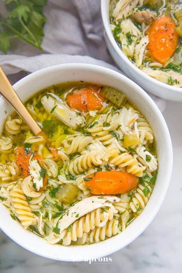 Instant Pot gluten free chicken noodle soup in bowls