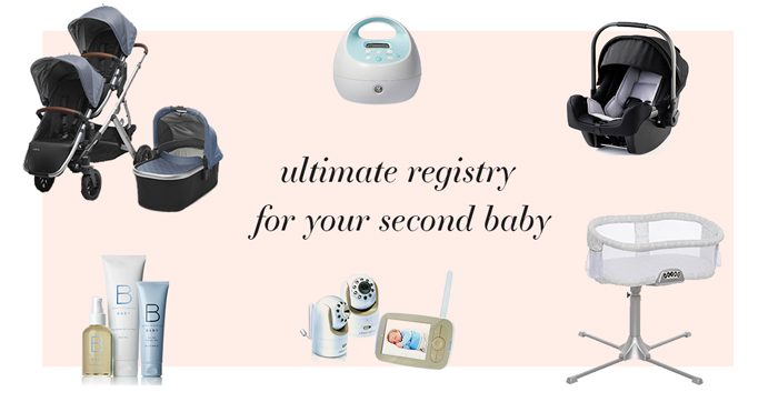 Ultimate baby registry for second baby collage with various baby registry items