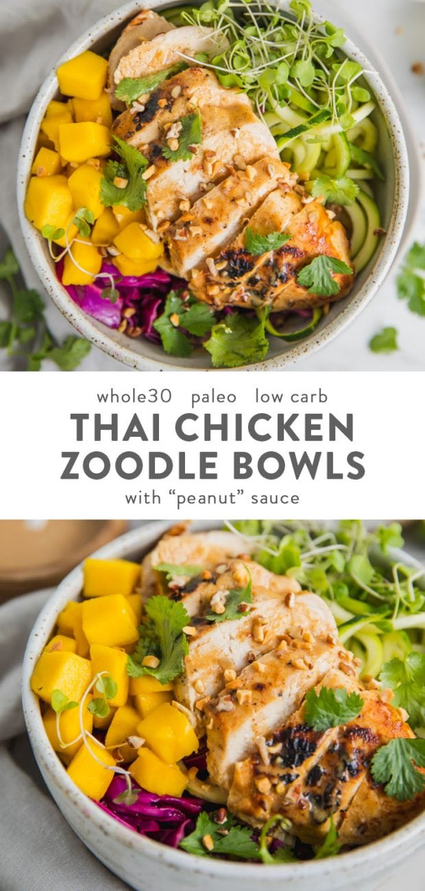 """Whole30 Thai chicken zoodle bowls with """"peanut sauce"""" in a bowl with garnishes"""