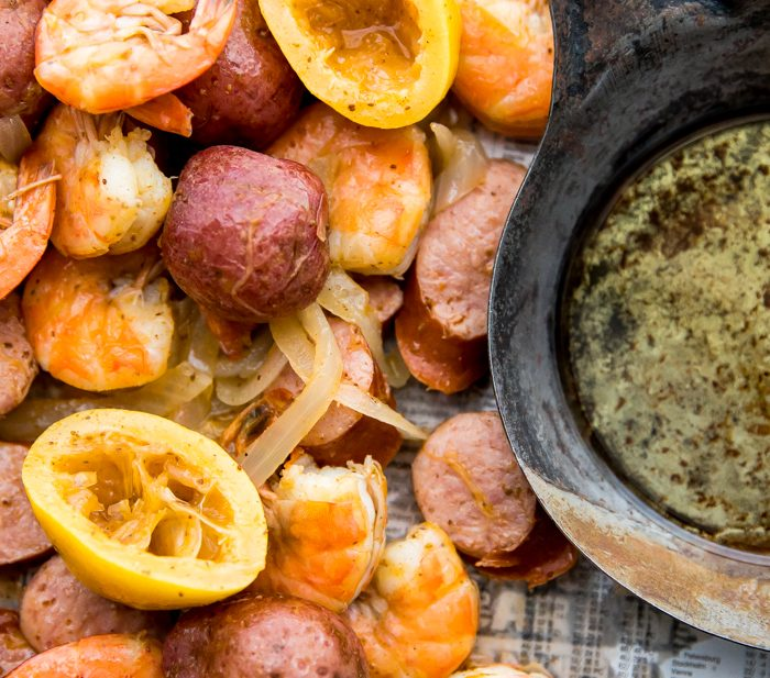 Whole30 Shrimp Boil with Potatoes, Sausage, and Garlic Ghee (Paleo)