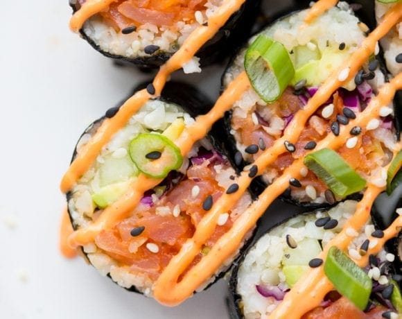 Whole30 sushi spicy salmon roll on a plate
