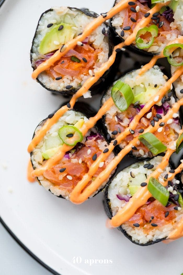 Whole30 Sushi Spicy Salmon Roll Low Carb Paleo Keto