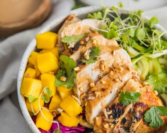 """Whole30 Thai Chicken Zoodle Bowl (With """"Peanut"""" Sauce, Paleo, Low Carb)"""