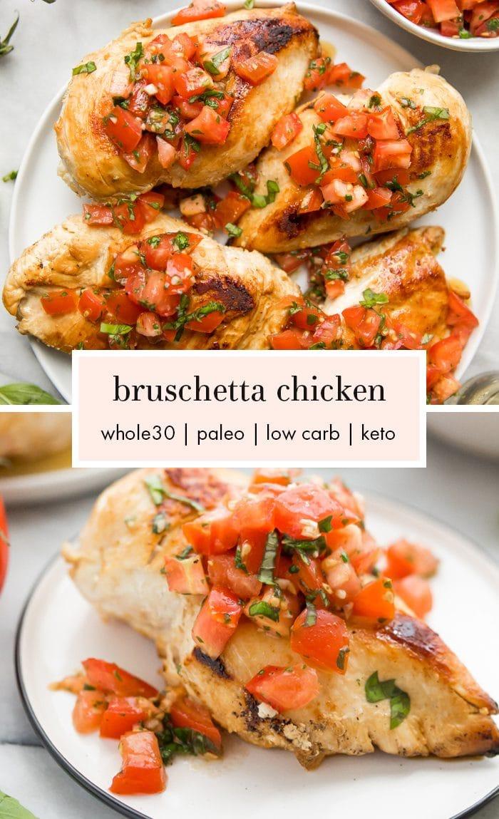 Bruschetta chicken on a plate with fresh basil, bruschetta, and more bruschetta chicken in background