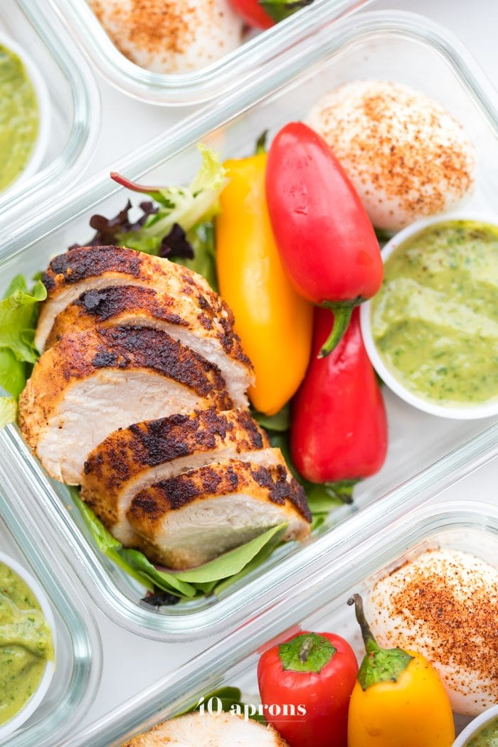 Container of healthy Mexican chicken meal prep