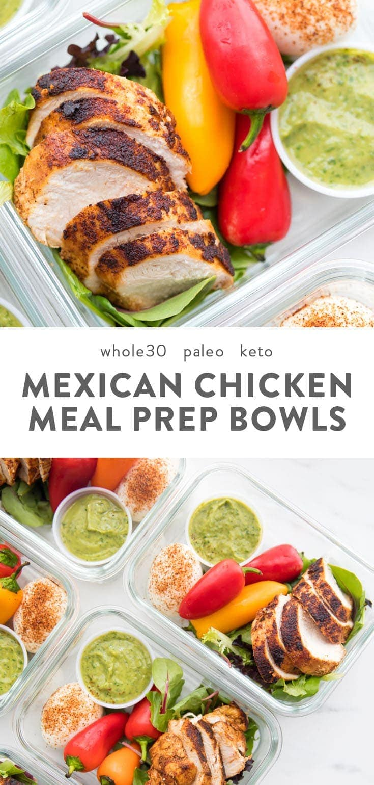 This healthy Mexican chicken meal prep is so easy! With tender, flavorful chicken, an avocado cilantro ranch dressing, protein-rich eggs, and lots of veggies that need no prep or chopping, it's paleo, Whole30, and low carb, too. #mealprep #whole30