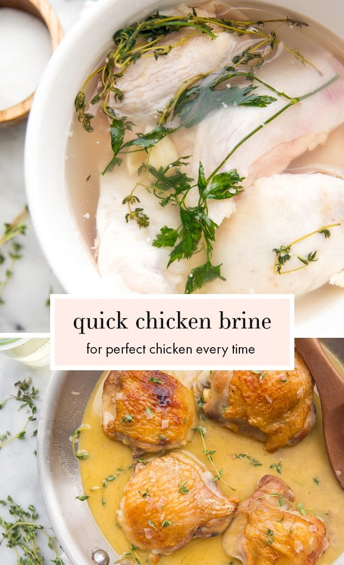 Quick chicken brine with chicken pieces in a bowl