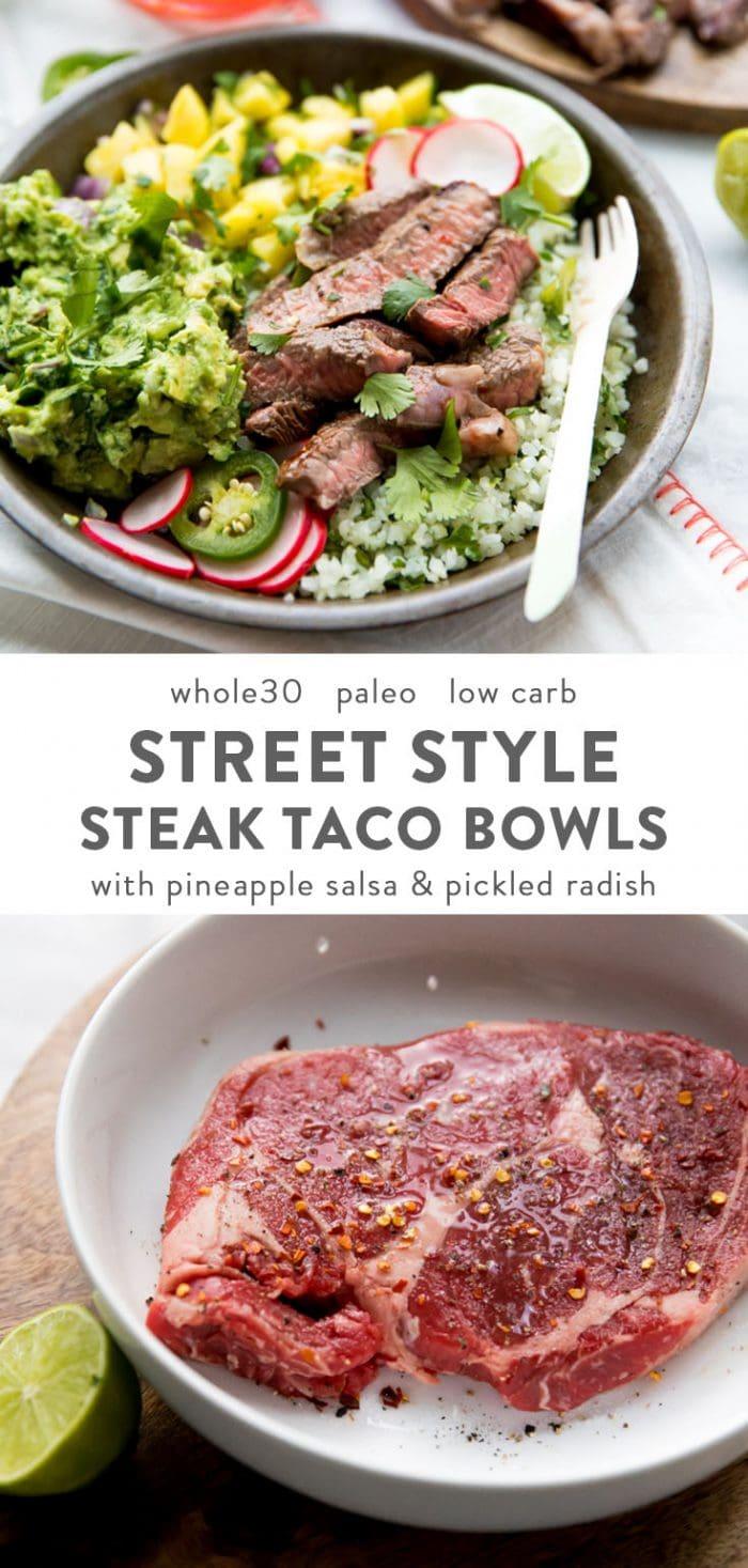 Whole30 steak taco bowl with steak, guacamole, pineapple salsa, pickled radish, and cauliflower rice